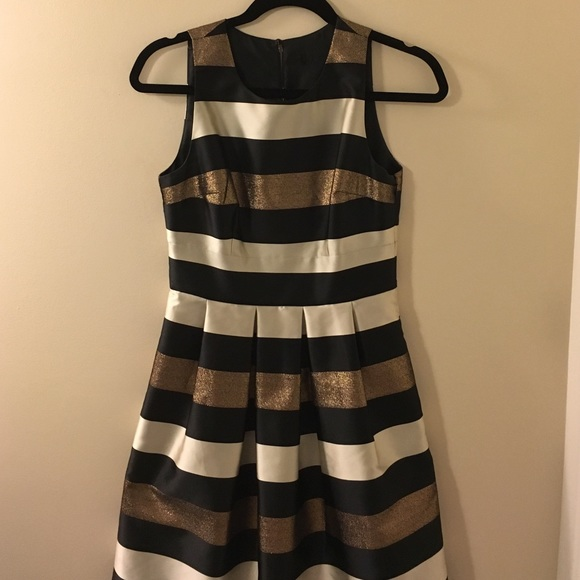 White and gold striped dress