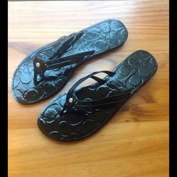 afe59a8a3 Coach Shoes - Coach patent leather flip flops. NWOT