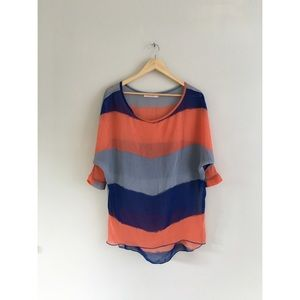 Allegra K Colorblock Orange navy sheer tunic top