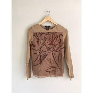 CLORINDA Tops - Vintage Italy nude tan floral wool knit top S