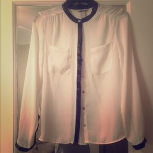 H&M white sheer blouse with black
