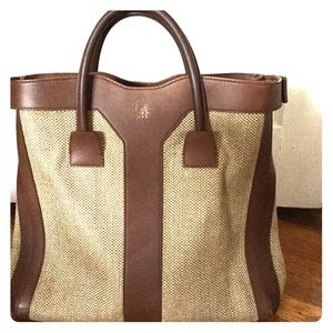 YSL Woven Linen/Leather Double Y Tote