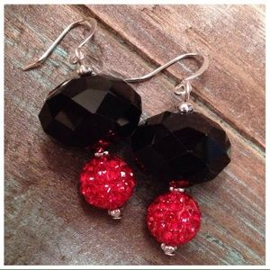 Jewelry - Black and Red Earrings - Handmade!!