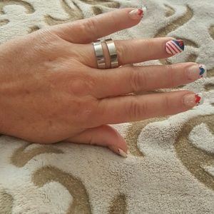 Steel by Design~A Pair of sized 9 Bandstyle Rings