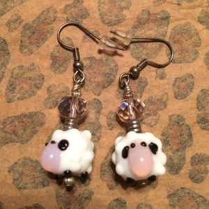 Hand Made Glass Sheep Earrings