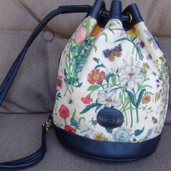 5b2292ea554c Gucci Handbags - Rare Navy Floral Gucci Canvas Backpack