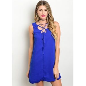 Very J Dresses & Skirts - *TODAY ONLY CLEARANCE* New blue lace-up dress