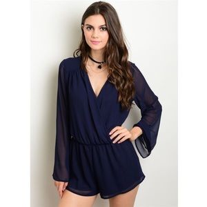 ASOS Pants - New navy romper with sheer sleeves
