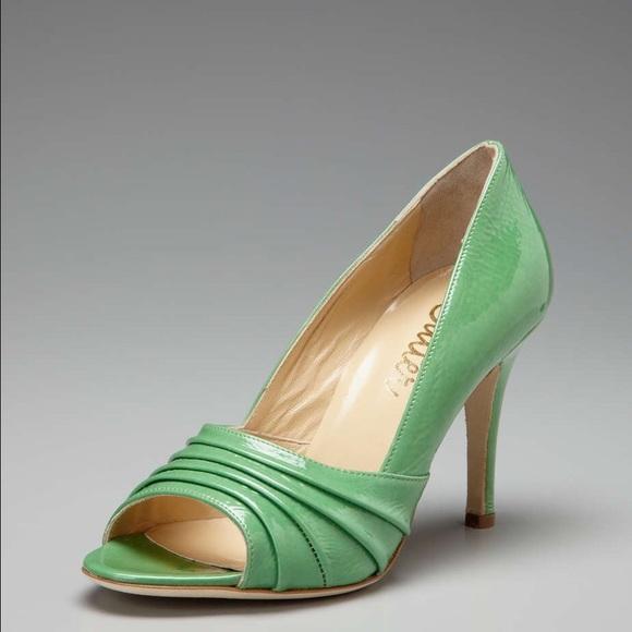 Butter Shoes - Butter Glitz patent green peep toe pumps size 9