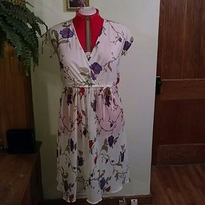 Vintage 1970's Union Made White Floral Dress