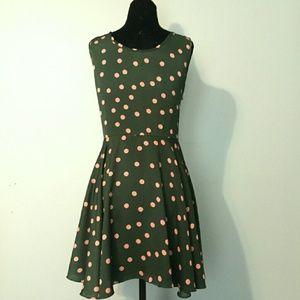 Asos pink polka dot dress