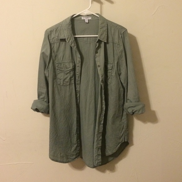 67% off Cotton On Tops - Cotton On Army-Green Button Down Shirt ...