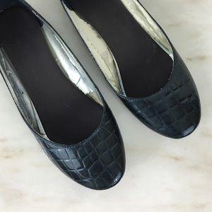 Shoes - Navy Croc Pattern Patent Flats