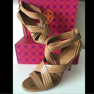 TORY BURCH LIV CRISSCROSS STRAPPY LEATHER SANDALS
