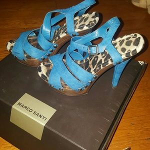 Marco Santi Shoes - strappy leopard blue wood heels