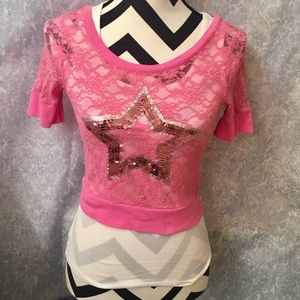 Justice Other - JUSTICE PINK LACE OVERLAY TSHIRT-JR SIZE