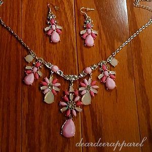 Kawaii Floral Statement Necklace & Earring Set