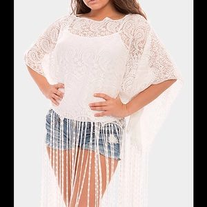 Other - White Poncho / Beach Coverup