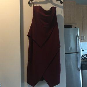 ASOS Burgundy Peplum Midi Dress