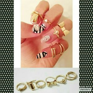 Set of 6 Knuckle Rings **NEW**