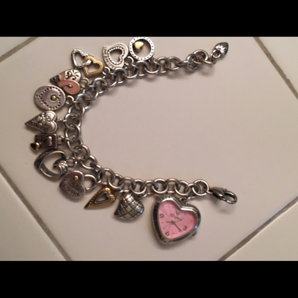 Charm Bracelet Watches: Heart Charm Bracelet Watch