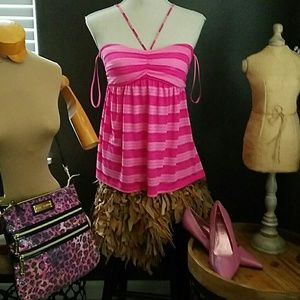 Pink adjustable straped halter top or swim cover