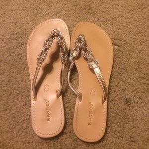 Bamboo Shoes - Bamboo gold bling flip flops 8
