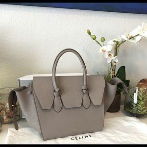  auth CELINE mini tie bag in grey grained calf