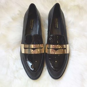 Juicy Couture Shoes - Juicy Couture Black Patent & Gold Loafers