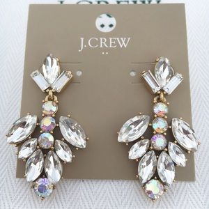 NWT J Crew Crystal Blossom Drop Earrings