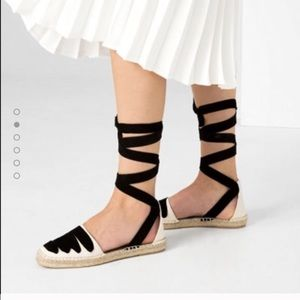 Zara lace up leather espadrilles