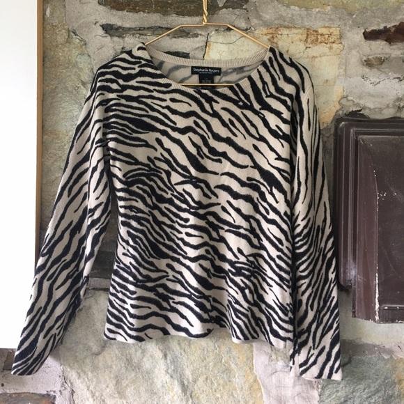 Stephanie Rogers Sweaters - Zebra tan and black animal print sweater. Sz L