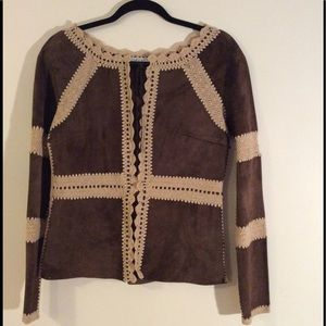 Brown Leather & Knit Jacket