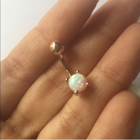 Rose Gold White Opal Belly Button Ring Navel Bar Boutique