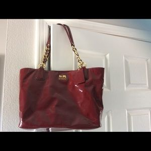 Coach Madison Patent Leather Purse Crimson Red