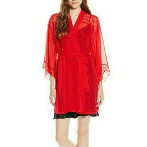 Kimono Wrap Red Polka Dots & Lace Lingerie