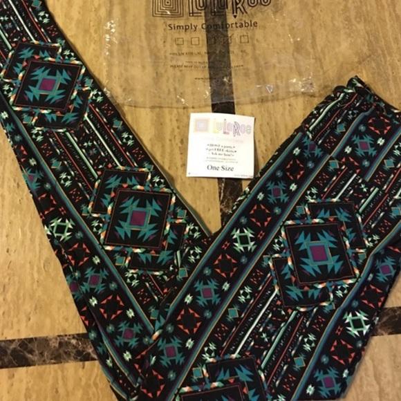 96ed1eb77e663b LuLaRoe Pants | Black Multi Color Aztec Print Leggings Os | Poshmark