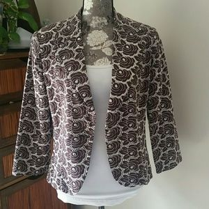 Brown & ivory lace look embroidered blazer sz 12