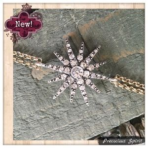 Jewelry - Gold tone double chain crystal starburst bracelet