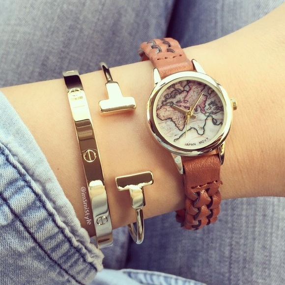 Urban Outfitters World Map Watch.Urban Outfitters Accessories World Map Braided Watch Poshmark