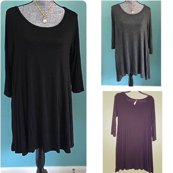 Boutique Tops - 3 Tunic Tops 3/4 sleeves NWOT LARGE-1X Black Grey
