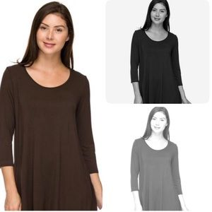 3 Tunic Tops 3/4 sleeves NWOT LARGE-1X Black Grey