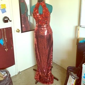 Vintage red sequin halter dress size 6