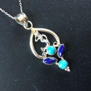 Lapis & Turquoise Mermaid Necklace