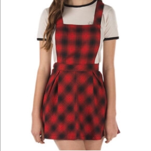 e831998b3c2 Red plaid overalls skirt