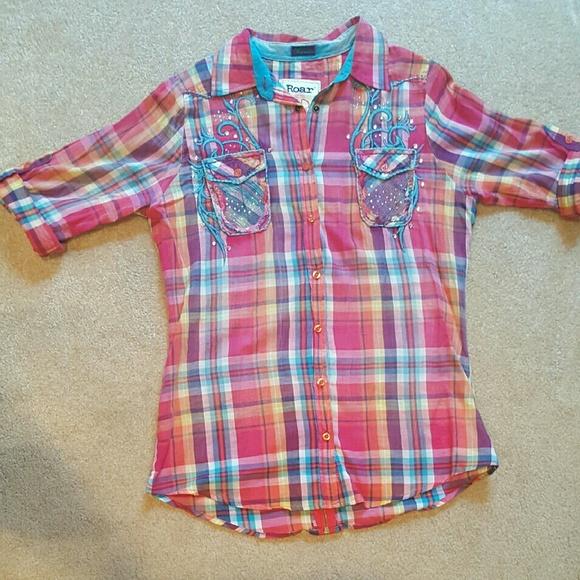 62% off ROAR Tops - **SOLD** ROAR, Multi-colored Button-down Shirt ...