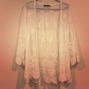 Tops - Sheer lace cream cardigan