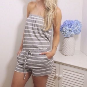 Boutique Pants - Gray Stripe Romper
