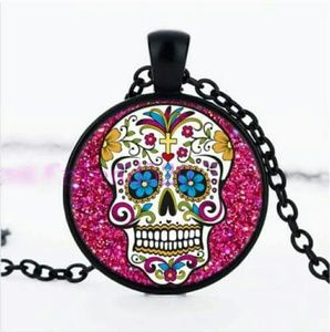 Jewelry - SALE💖 Rose sugar skull Jewelry Necklace Glass dom