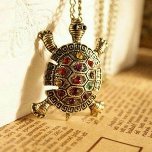 Jewelry - SALE💖 Crystal Auger Turtle Necklace& Pendant